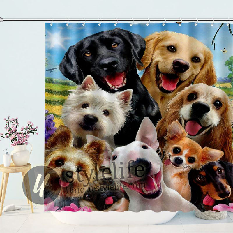 3D Printing Animal Lovely Dog Shower Curtains