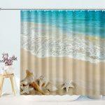 Beach Shower Curtain Seashell Starfish Sand Blue Sky Beach