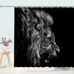 Lion Black and White Bathroom Shower Curtain