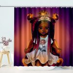 Black Art Afro Girl Magic Queen African American Decorative Bathroom Curtain with Hooks
