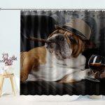 Brown Bulldog Lying on Sofa Smoking Drinking Shower Curtain