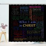Christian Bible Verse Scripture Colorful Design Art Bathroom Curtains