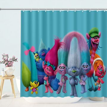 Colorful Poppy Trolls Best Cute Home Decor Bathroom Curtains