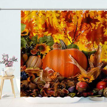 Colorful Star Pumpkin Harvest Shower Curtains