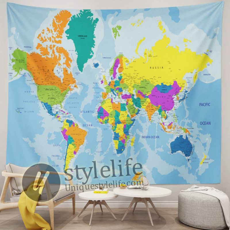 Colorful World Political Map Tapestry