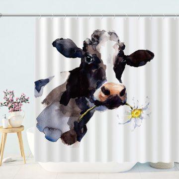 Cow Daisy Flower Farm Animal Shower Curtain