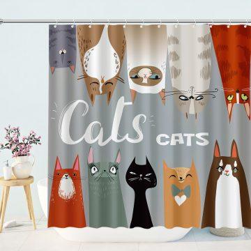 Cartoon Style Waterproof Decorative Bathroom Cat Shower Curtain