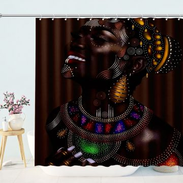 Diamond Jewelry African Woman By Number Kits Bathroom Afro Shower Curtain