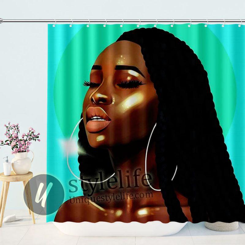 Turquoise Backdrop Elegant Black Art Girl with Hoop Earrings african woman shower curtain
