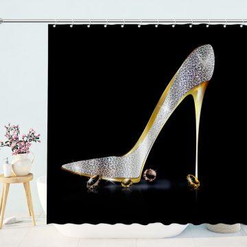 Fashion Lady High Heel Shoe with Diamonds Girly Decor Shower Curtain