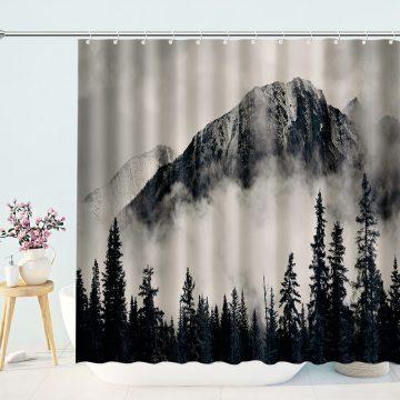 Foggy Forest Green Mountain Shower Curtain for Bathroom