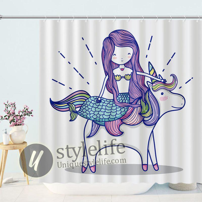 Funny Mermaid Unicorn Shower Curtain
