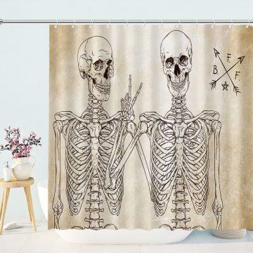 Funny Skull Skeleton Bathroom Curtains