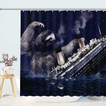Funny Sloth Nautical Shower Curtain