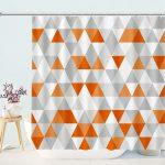 Grey White And Orange Triangle Geometric Shower Curtains