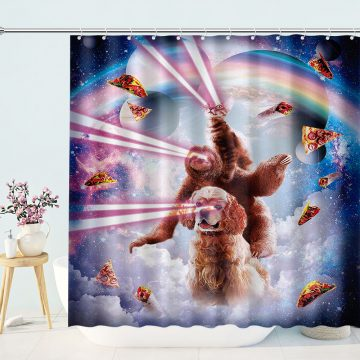 Laser Eyes Space Cat Riding Sloth Dog Rainbow Shower Curtains