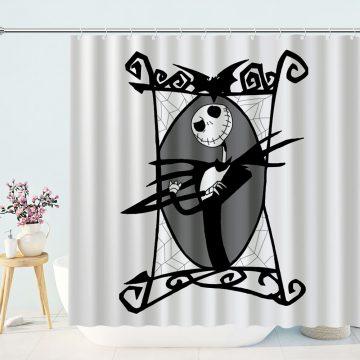 Black White Nightmare Before Christmas Jack Skellington shower curtain