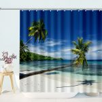 Palms Ocean Tropical Island Beach Bathroom Shower Curtain