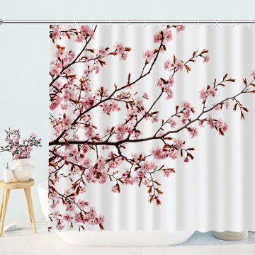 Pink Floral Bathroom Curtain Cherry Blossom