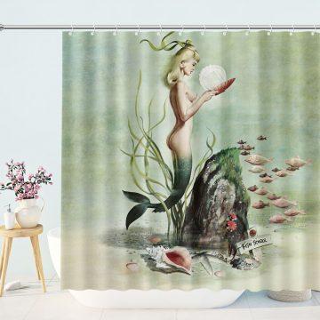 Retro Pin Up 1950s Mermaid Shower Curtains