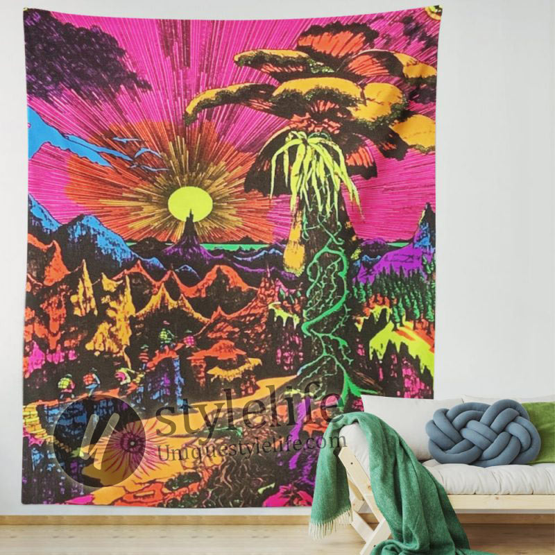 Sun Lost Horizon Flocked UV Blacklight Tapestry