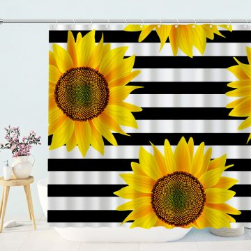 Sunflower Shower Curtain Black and White Striped Bathroom Curtains