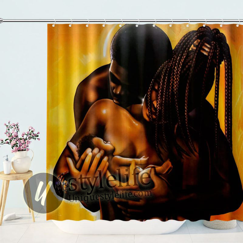 Give It All To God By WAK Kevin A. Williams Black Art Print Afrocentric Shower Curtain