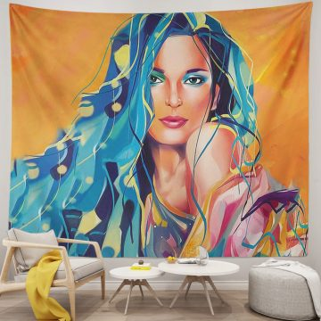 African American Black Girl Colourful Print Tapestries