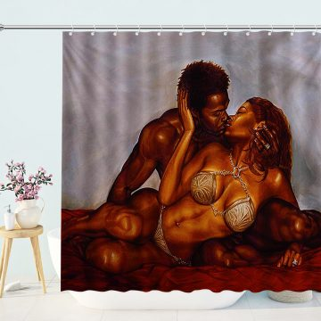 African American Couple Make Love Shower Curtain