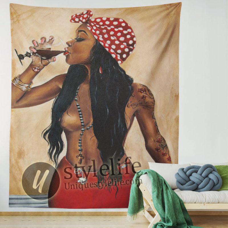 African American Tapestry Drink Wine Black Woman