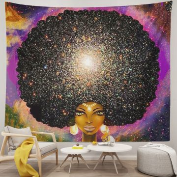 African American Tapestry Women Art Big Hairball