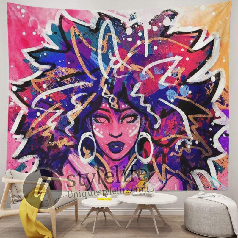African American Tapestry Women Graffiti Art Afro Queen