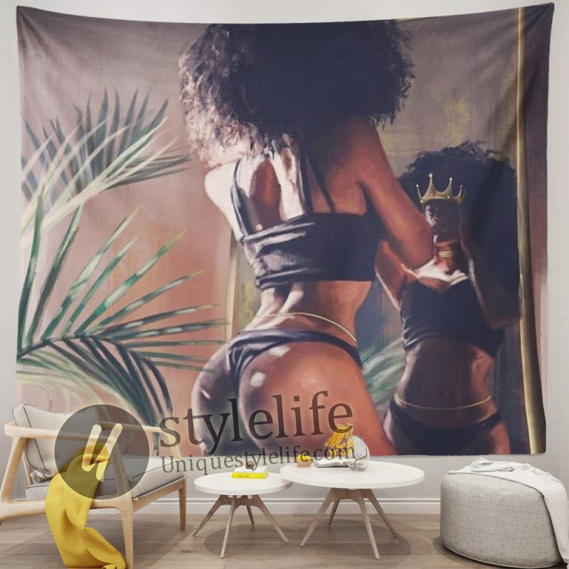 African American Woman with Crown Black Art Hippie Wall Tapestry