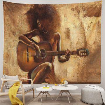 African Black Women Girl Play Guitar Tapestry