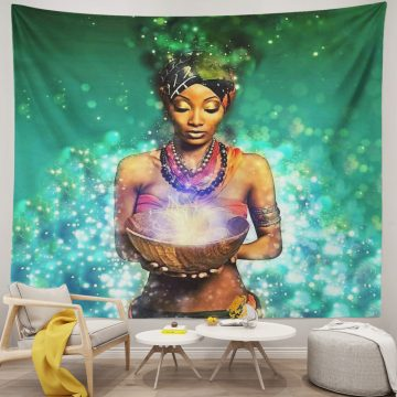 African Tribal Women Green Hair Black Unique Tapestry
