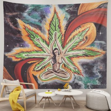 African Woman Marijuana Weed Leaf Wall Tapestry
