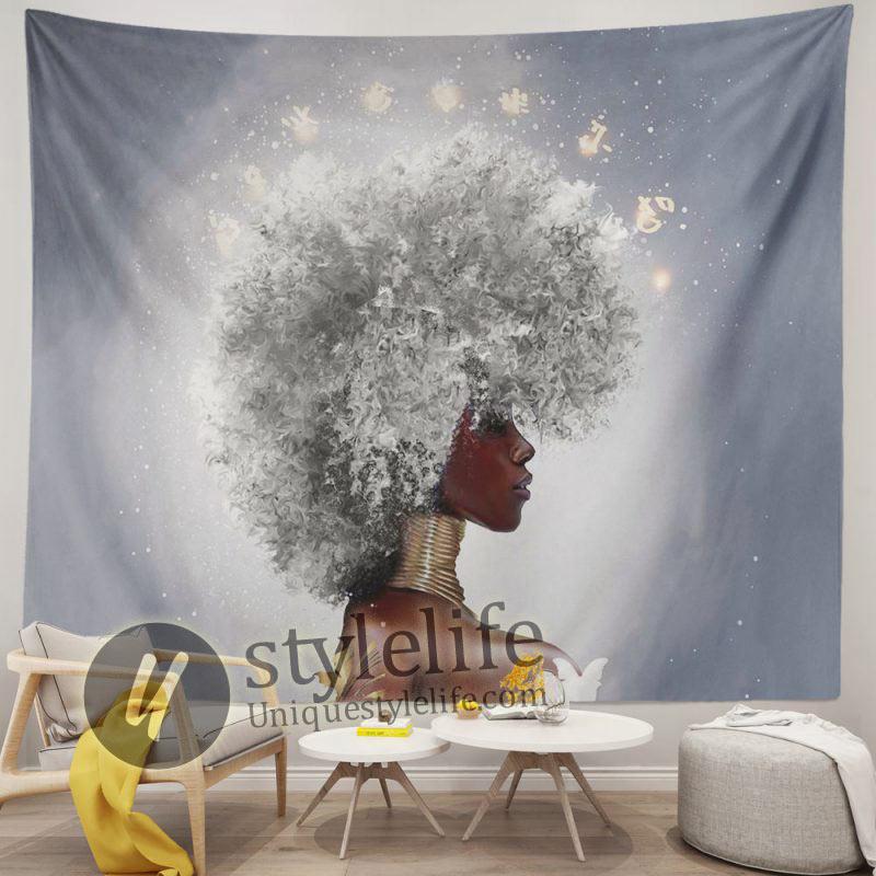African Women White Hair Tapestries Hippie