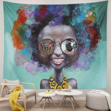 Afro Girl American Colorful Hair Hippie Tapestry