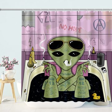 Alien Smoke and Chill in Bath Shower Curtain