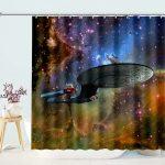 Aliens Spaceship Galaxy Shower Curtain