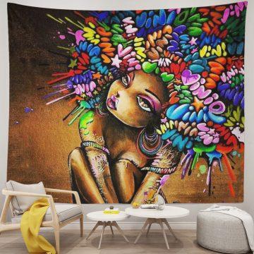 Amazing Black Hair Art Paintings Black Girl African American Tapestry