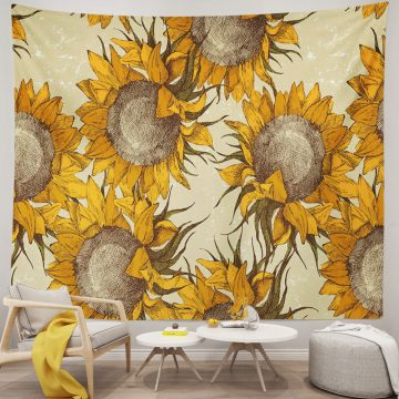 Beautiful Blooming Vintage Sunflowers Tapestry