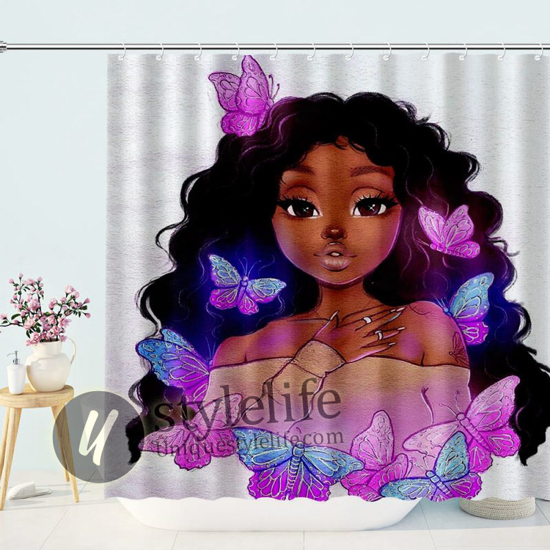 Beauty African Girl With Butterfly