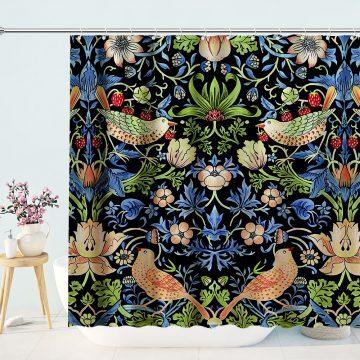 Birds and FlowersPrint Shower Curtain