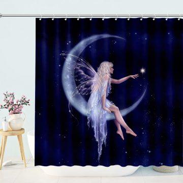 Birth of a Star Moon Fairy Shower Curtain