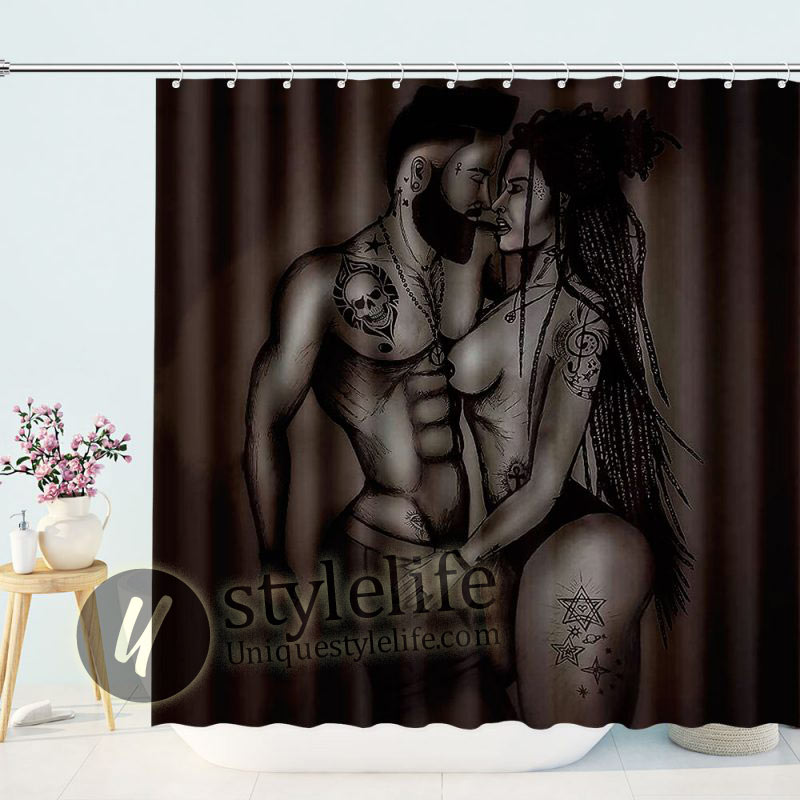 Afro Couple Black African American Lover Woman Shower Curtains for Bathroom