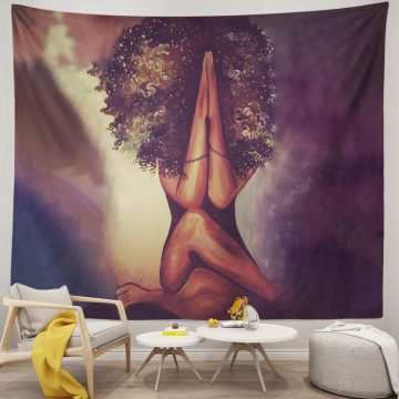 Black African American Woman Praying Gesture Tapestry
