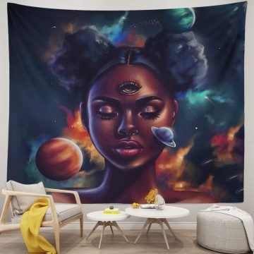 Black Afro American Girl In Galaxy Tapestry