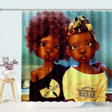 Black Afro Kids Sister And Brother Shower Curtain