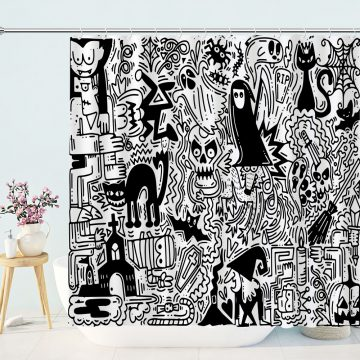 Black And White Hallow Shower Curtain